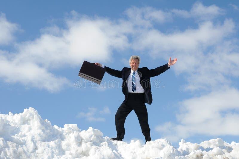 Homem de negócios feliz com pasta fotos de stock royalty free