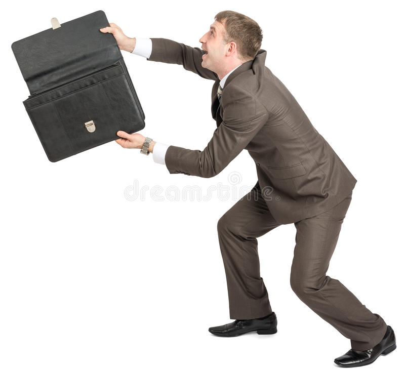 Homem de negócios feliz com pasta aberta imagens de stock