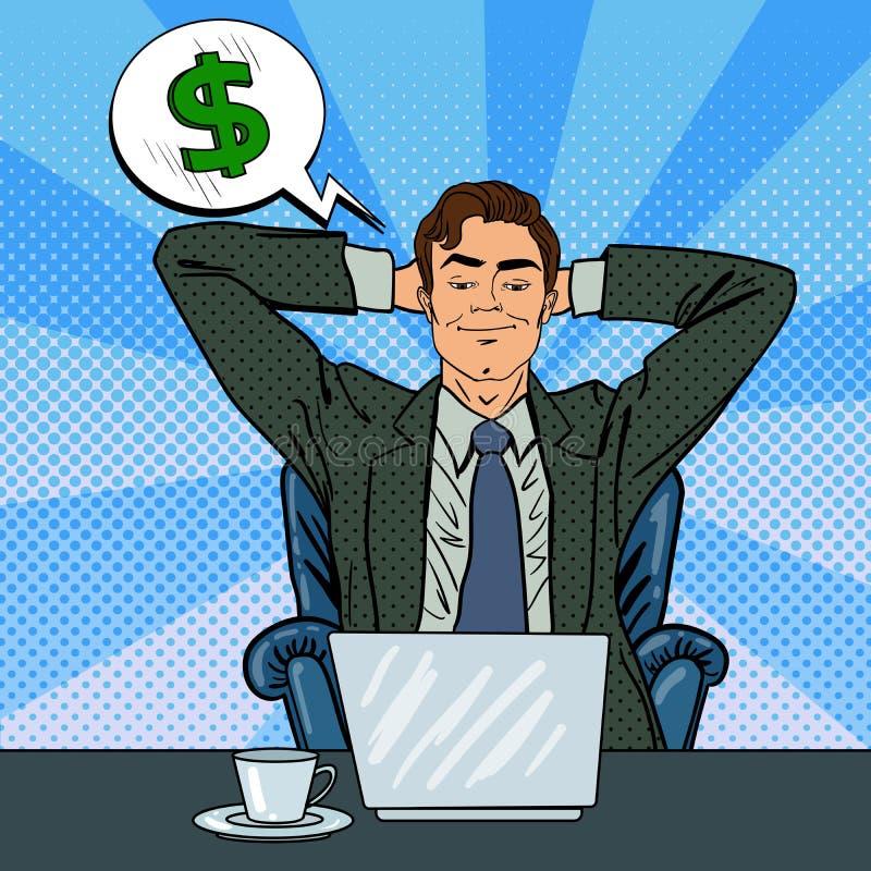 Homem de negócios feliz com portátil Trabalhador de escritório que sonha sobre o dinheiro ilustração do vetor
