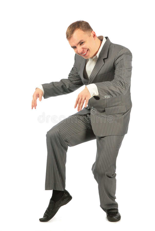 Homem de negócios feliz da dança fotografia de stock
