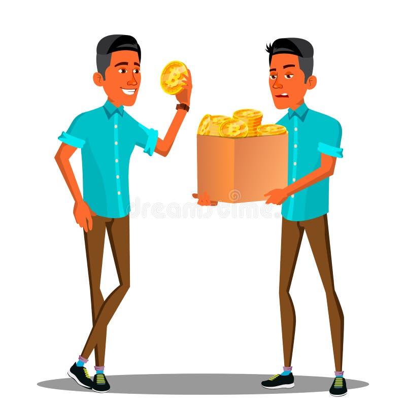 Homem de negócios feliz e irritado With Bitcoin Vetora Antes, em seguida Ilustração ilustração stock
