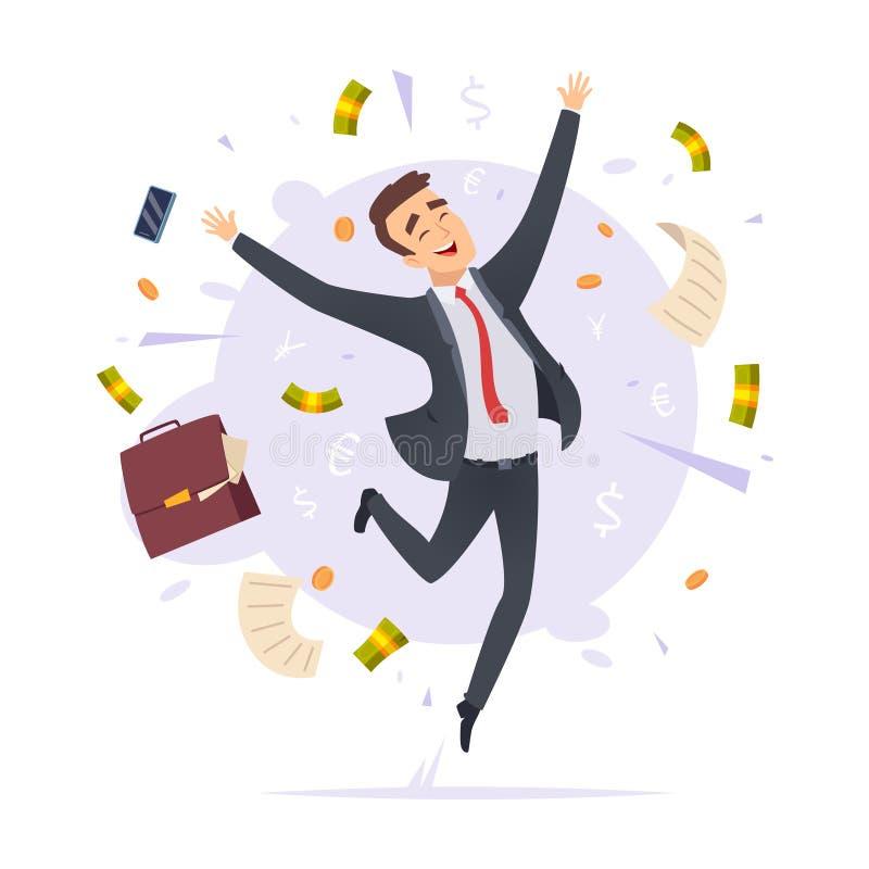 Homem de negócios feliz Ilustrações masculinas de salto dos desenhos animados do vetor do gestor de escritório novo bem sucedido  ilustração stock