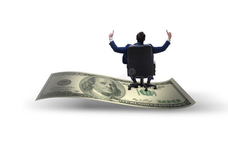 Homem de negócios feliz na cédula do dólar isolada no backgroun branco imagem de stock