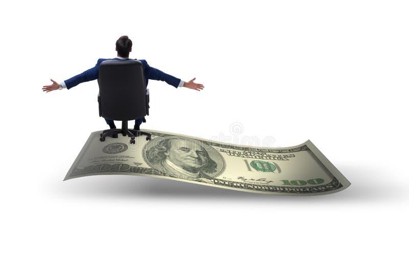 Homem de negócios feliz na cédula do dólar isolada no backgroun branco fotografia de stock royalty free