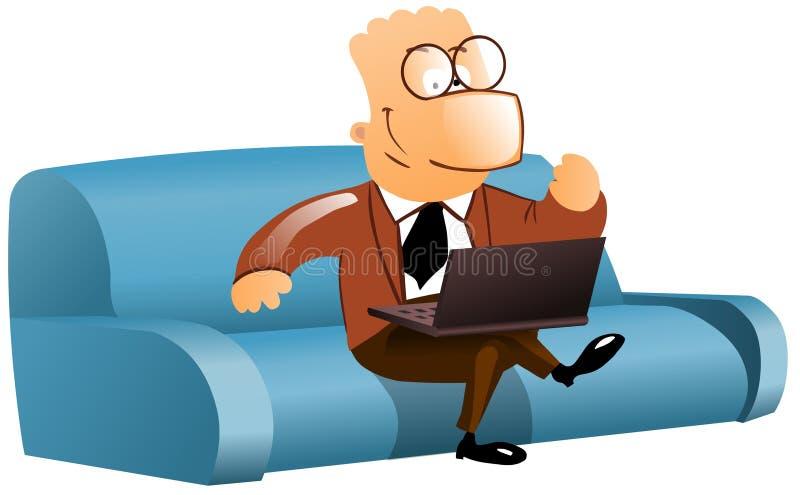 Homem de negócios feliz no sofá com portátil ilustração do vetor