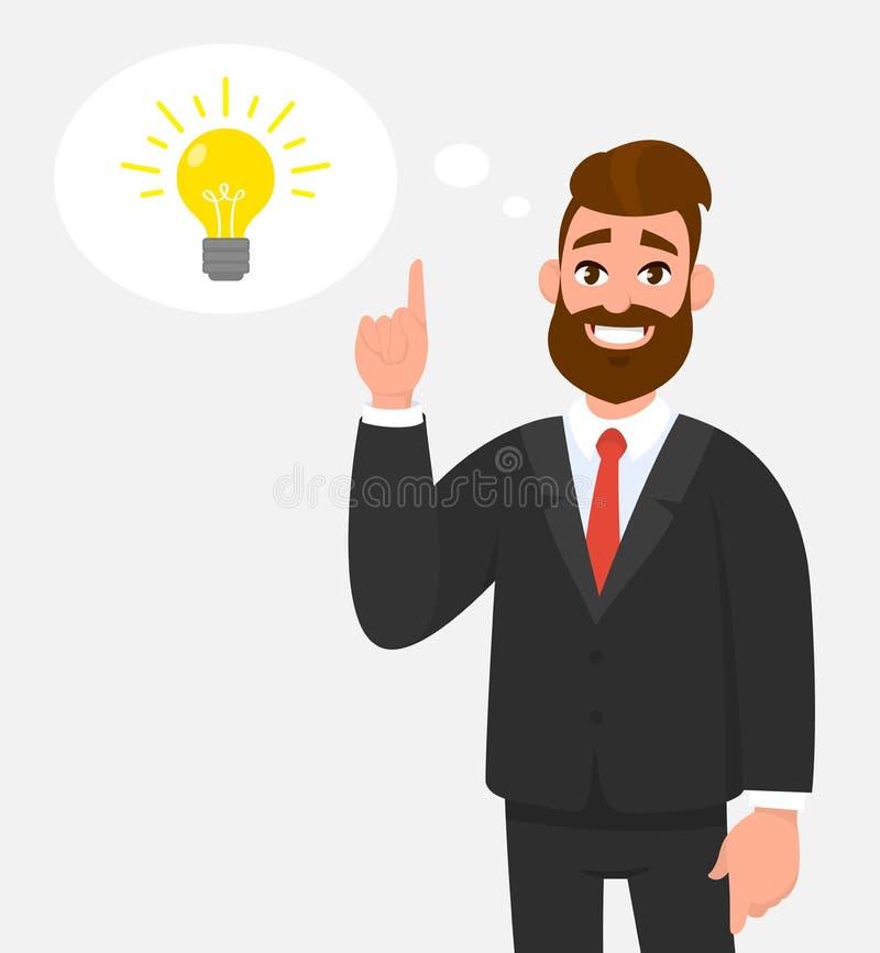 Homem de negócios feliz pensativo que aponta até o bulbo brilhante na bolha do pensamento Ideia, inovação, invenção, resolução de ilustração royalty free