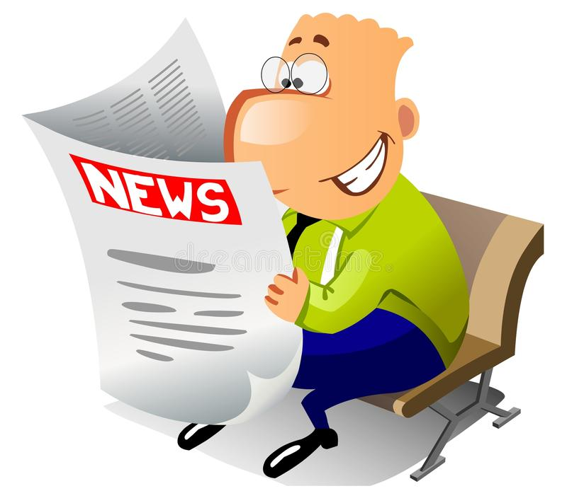 Homem de negócios feliz que lê a notícia. ilustração royalty free