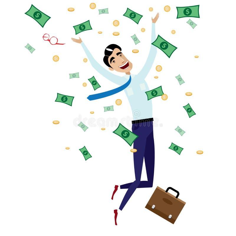 Homem de negócios feliz que salta com dinheiro ilustração stock