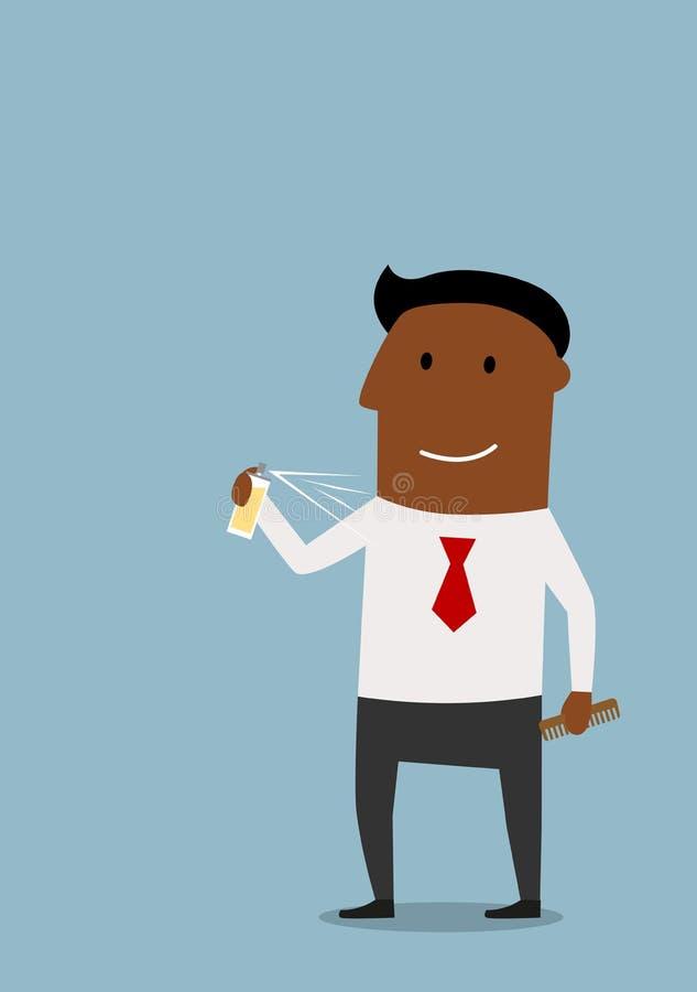 Homem de negócios feliz que usa um desodorizante para o cuidado do corpo ilustração royalty free