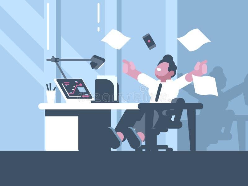Homem de negócios feliz sobre o negócio de negócio bem sucedido ilustração stock