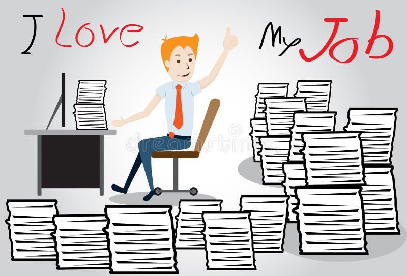 Homem de negócios feliz. trabalhador com o montão do documento ilustração royalty free