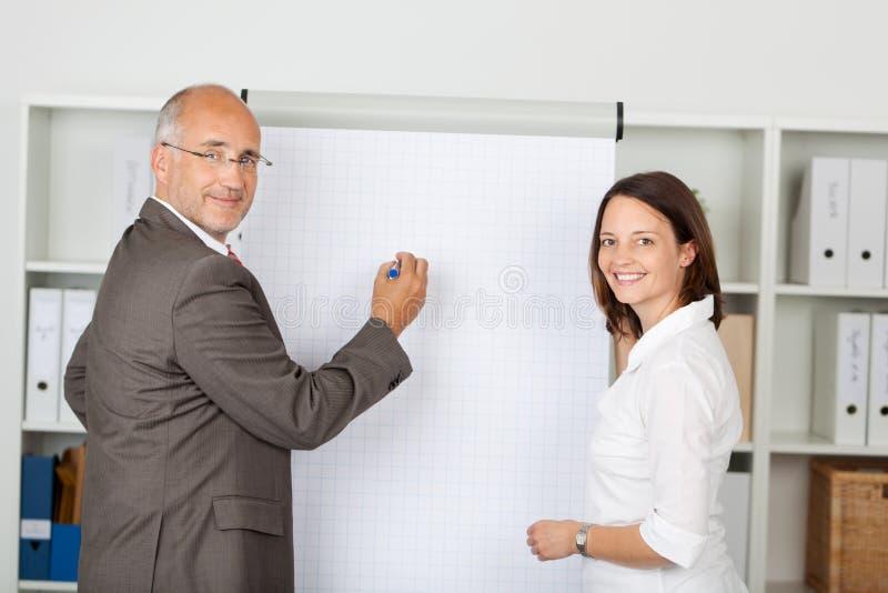 Homem de negócios With Female Coworker que está perto de Flipchart imagem de stock
