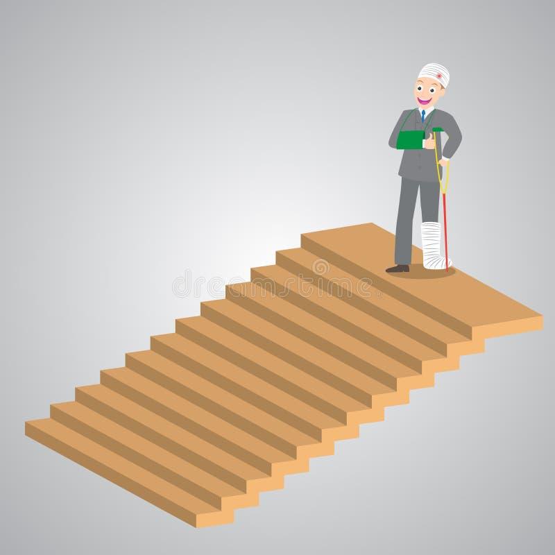 Homem de negócios ferido nas ataduras que estão sobre escadas, ilustração ilustração do vetor