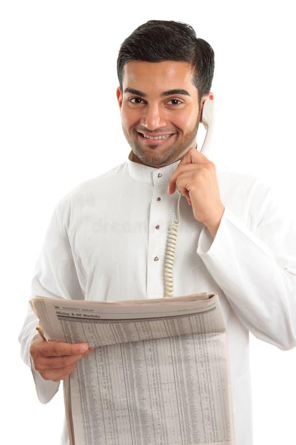 Homem de negócios financeiro árabe ou corretor da bolsa imagem de stock royalty free