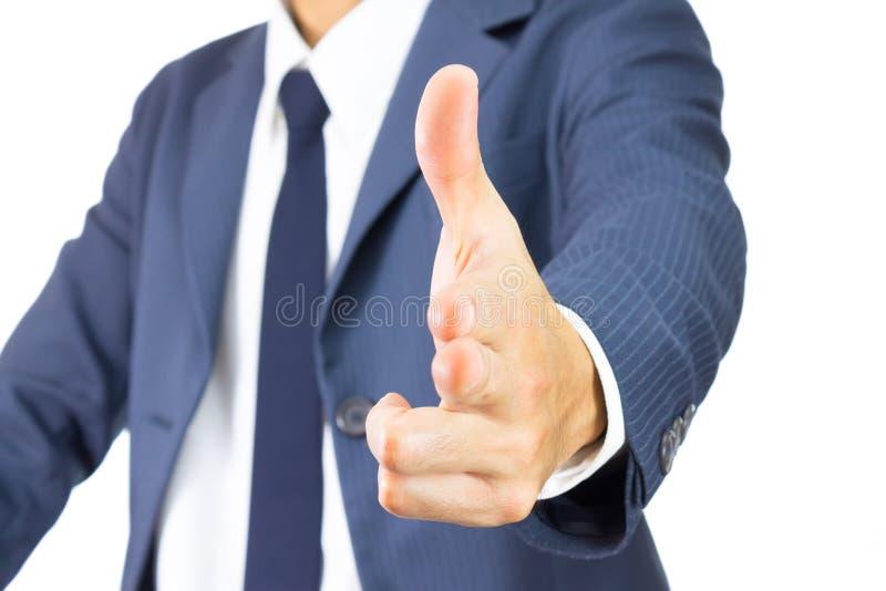 Homem de negócios Finger Gun Isolated no fundo branco imagens de stock