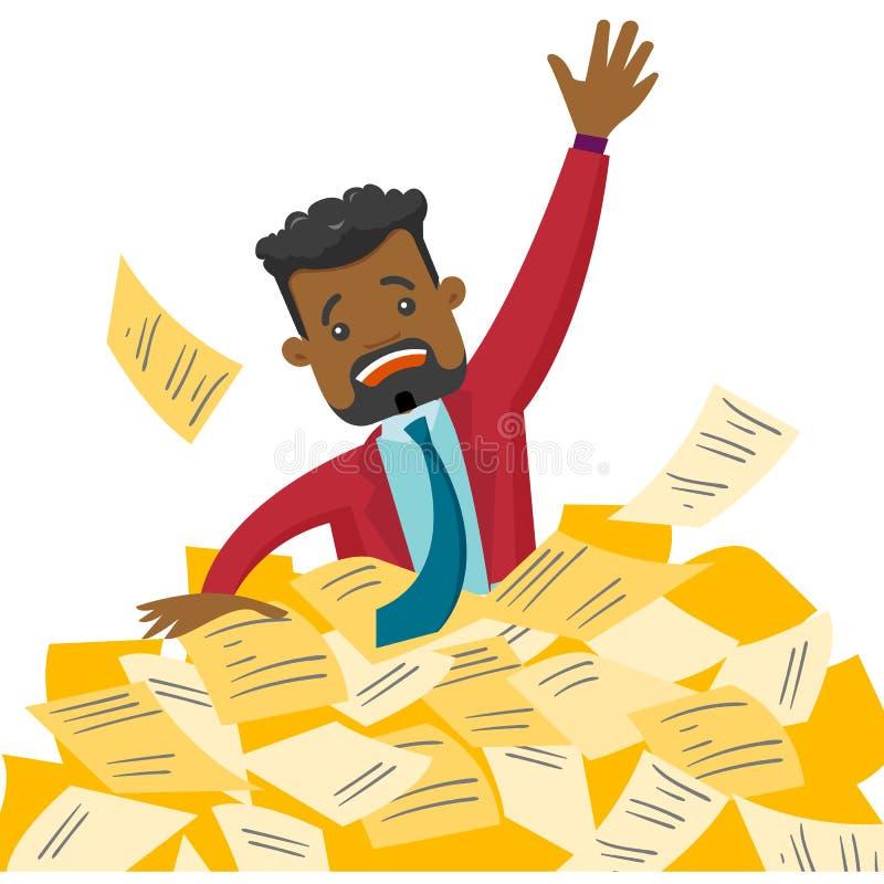 Homem de negócios forçado que afunda-se no montão dos papéis ilustração royalty free