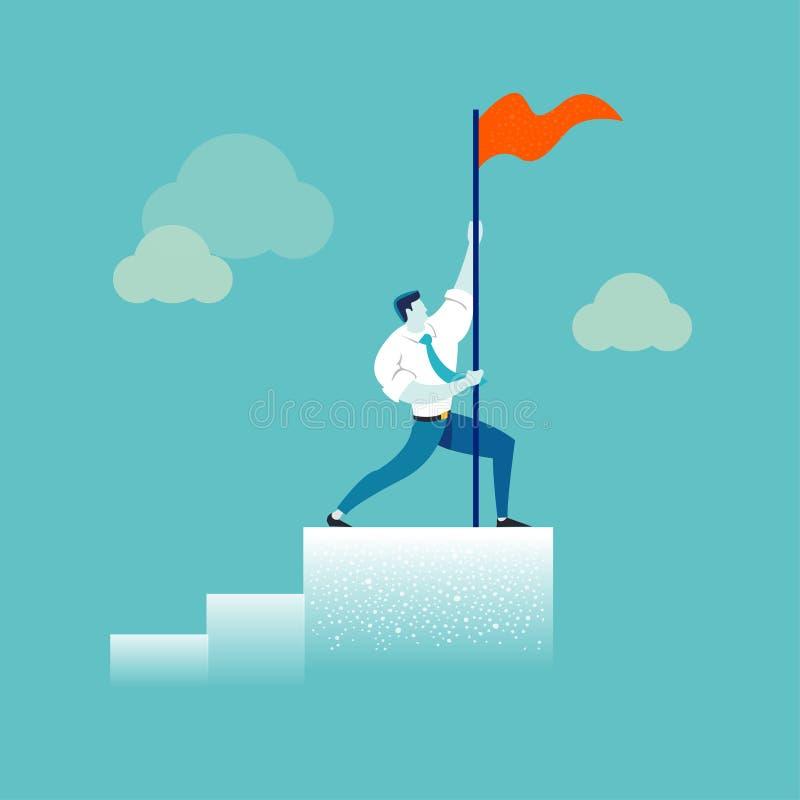 Homem de negócios forte que guarda uma bandeira vermelha sobre o gráfico da coluna Conceito do negócio da liderança, sucesso, vit ilustração stock
