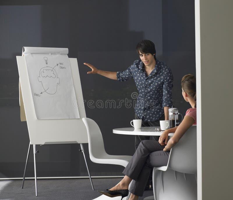 Homem de negócios Giving Presentation On Flipchart imagem de stock