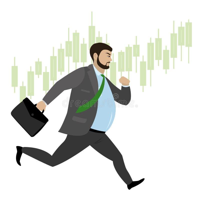 Homem de negócios gordo que corre no japonês do fundo ilustração do vetor
