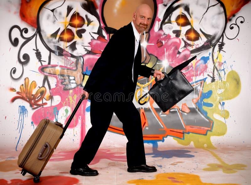 Homem de negócios, grafitti urbano imagens de stock royalty free