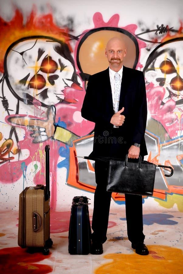 Homem de negócios, grafitti urbano imagens de stock