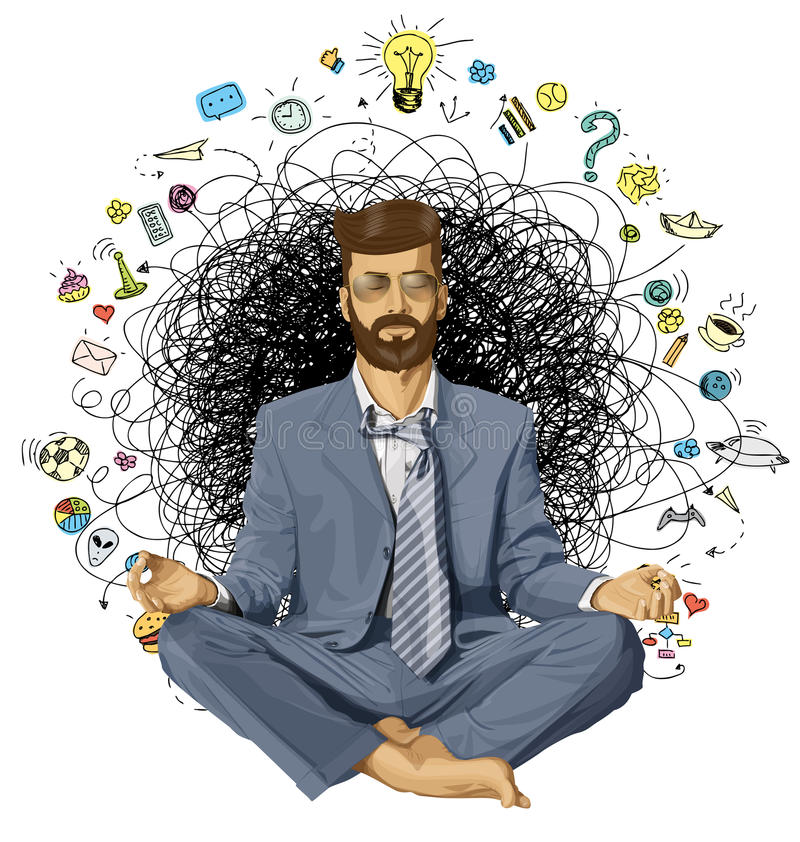Homem de negócios Hipster no ORIGINAL de Lotus Pose Meditating imagem de stock