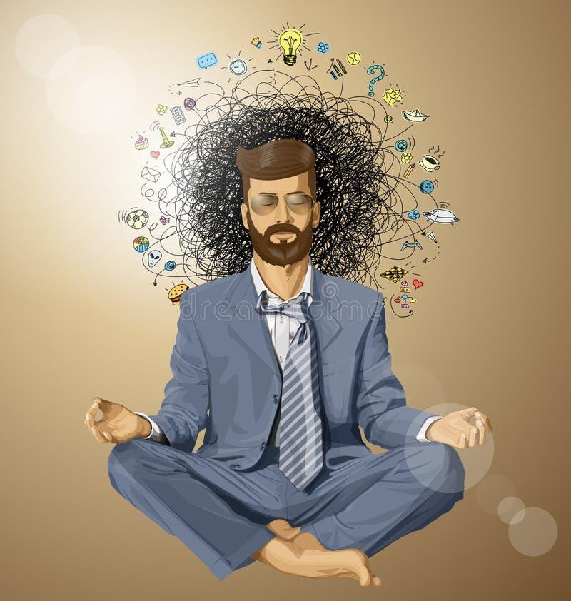Homem de negócios Hipster no ORIGINAL de Lotus Pose Meditating ilustração do vetor