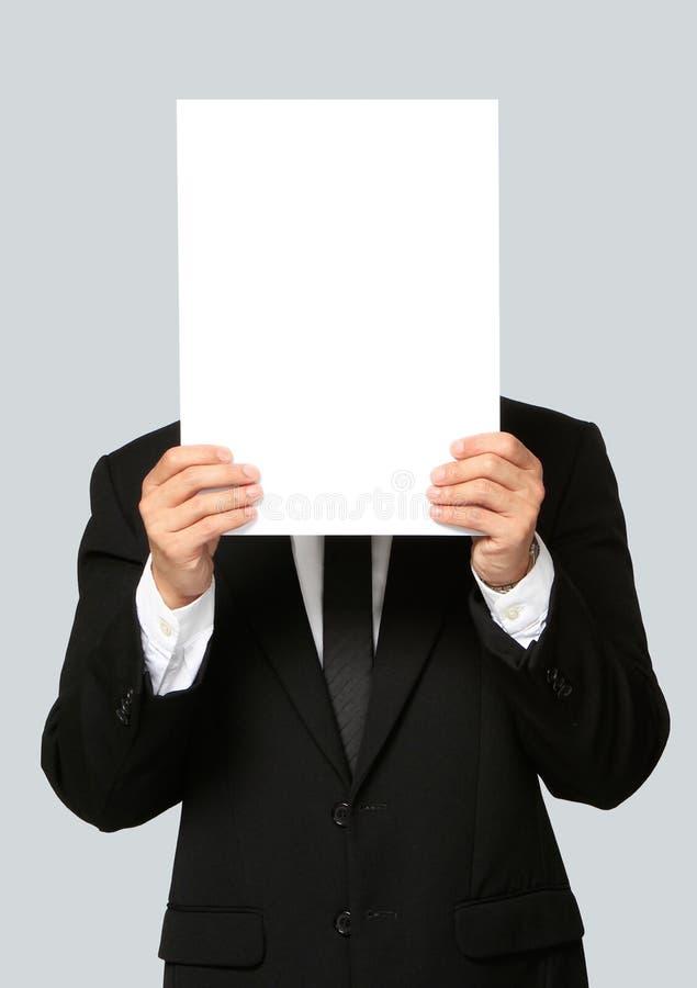 Homem de negócios Holding Blank Signboard imagens de stock