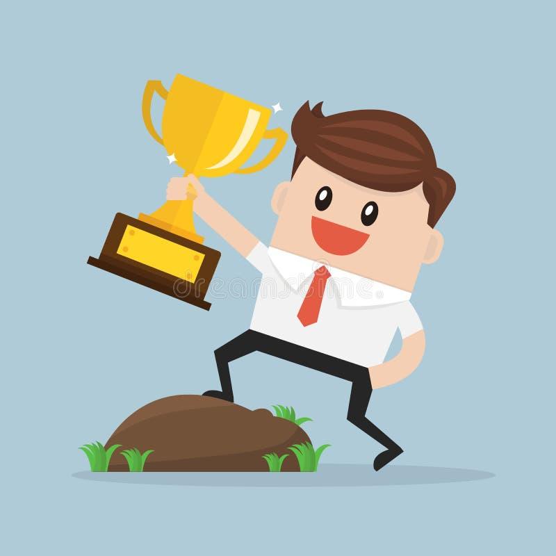 Homem de negócios Holding um troféu, estilo liso do projeto do illustion do vetor ilustração stock