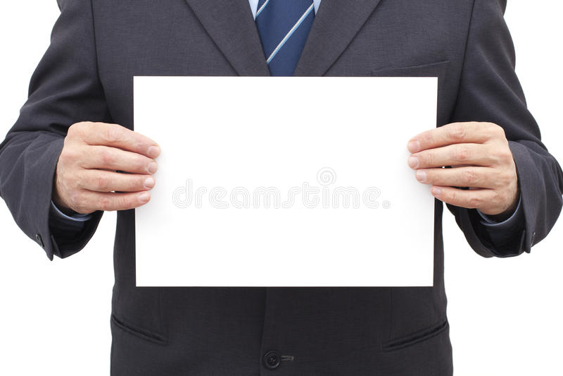 Homem de negócios Holding uma folha vazia imagens de stock