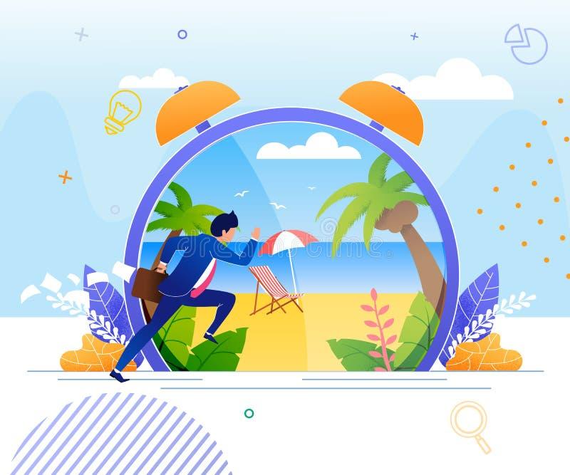 Homem de negócios Hurrying a descansar na praia tropical ilustração royalty free