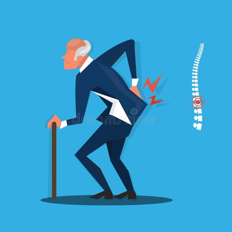 Homem de negócios idoso com vara e ferimento do ícone da dor nas costas, ilustrador ilustração do vetor