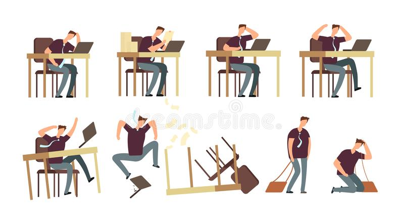 Homem de negócios infeliz In Office As pessoas irritadas, viradas e forçadas, empregados vector os caráteres isolados ilustração do vetor