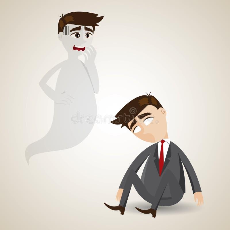 Homem de negócios inoperante dos desenhos animados e sua alma ilustração stock