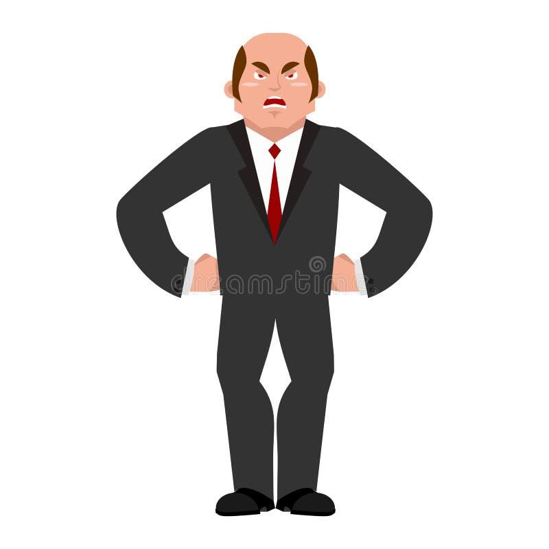 Homem de negócios irritado Chefe agressivo Gerente mau isolado ilustração stock