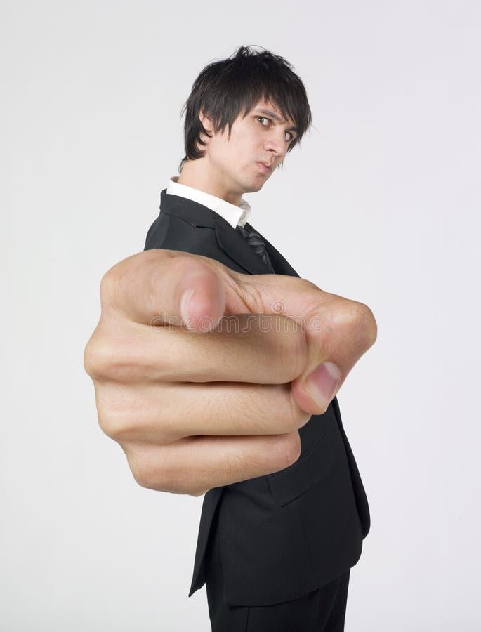 Homem de negócios irritado com dedo pointed fotos de stock