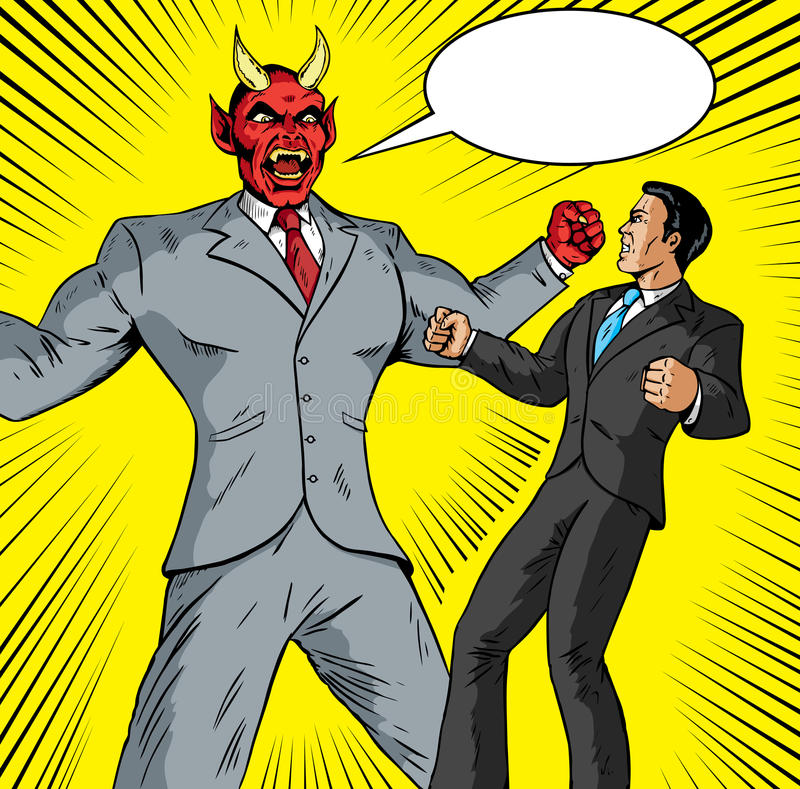 Homem de negócios irritado do demónio ilustração stock