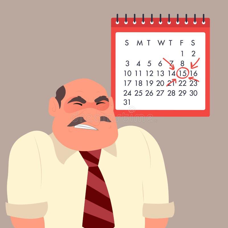 Homem de negócios irritado na perspectiva do calendário ilustração stock