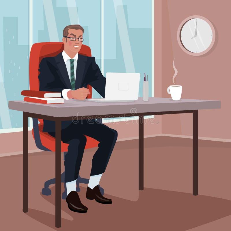 Homem de negócios irritado no escritório ilustração stock