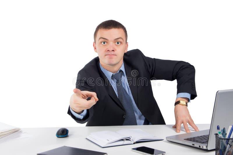 Homem de negócios irritado que aponta a parte dianteira imagem de stock royalty free
