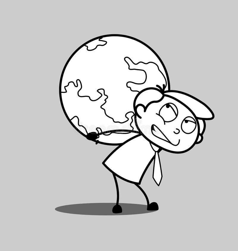 Homem de negócios irritado Suffering Earth Burden ilustração stock