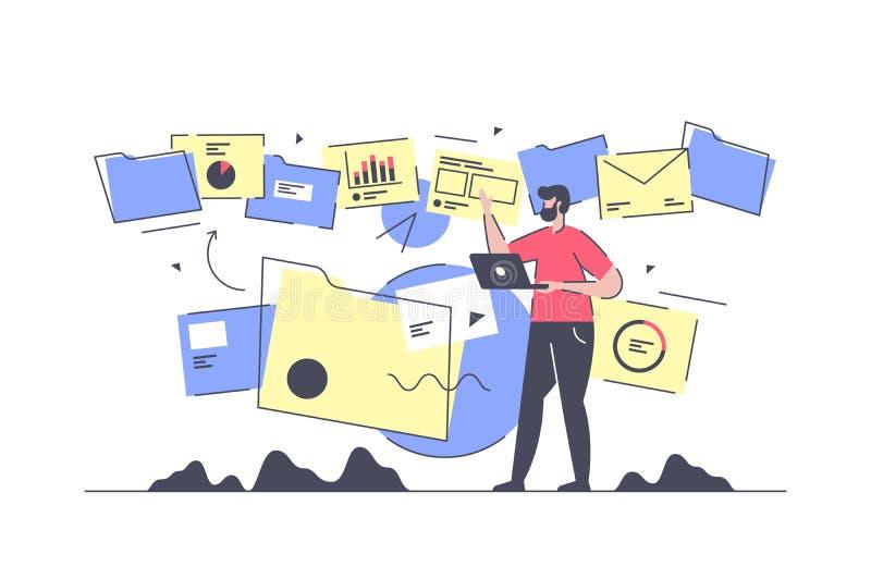 Homem de negócios isolado liso para fazer o fluxo e o processamento de documento ilustração stock