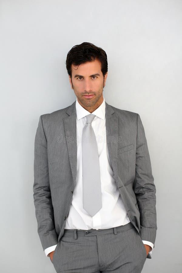 Homem de negócios isolado no fundo branco imagens de stock royalty free