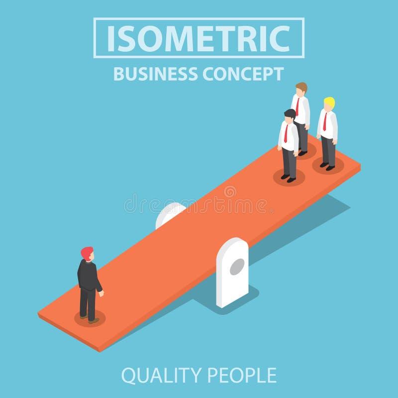Homem de negócios isométrico da qualidade que pesa mais o negócio de quatro ilustração royalty free