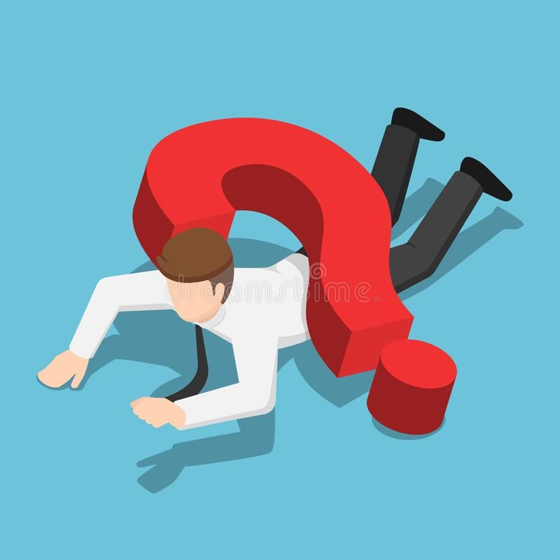 Homem de negócios isométrico esmagado pelo sinal do ponto de interrogação ilustração stock