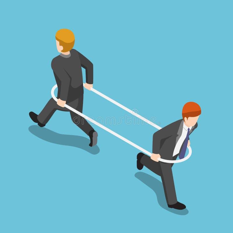 Homem de negócios isométrico na aro que corre a maneira diferente do eac ilustração do vetor