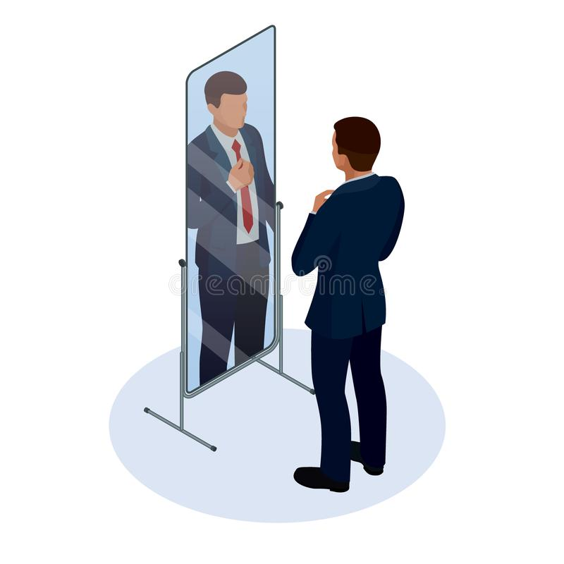 Homem de negócios isométrico que ajusta o laço na frente do espelho Homem que verifica sua aparência no espelho Homem de negócios ilustração do vetor