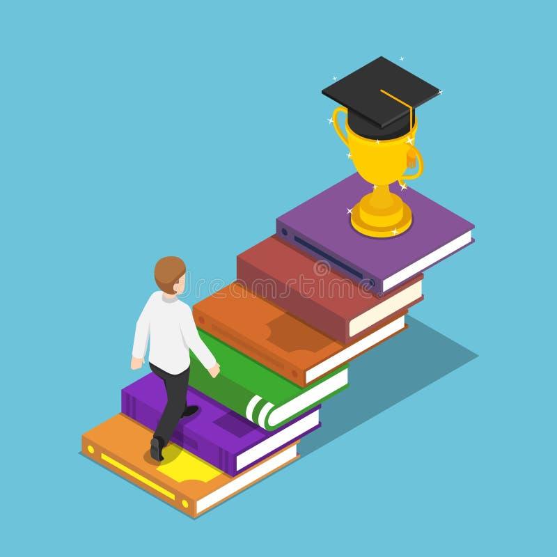 Homem de negócios isométrico que anda na escada do livro ao troféu e ao g ilustração do vetor