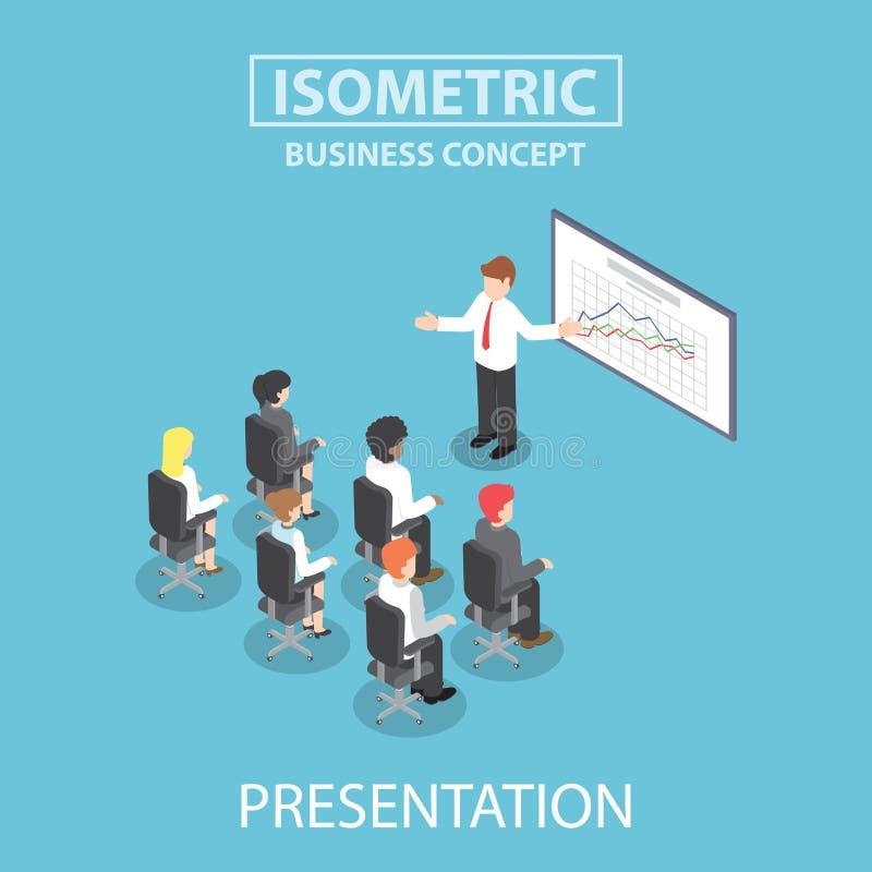 Homem de negócios isométrico que dá uma apresentação em uma reunião da conferência ilustração royalty free