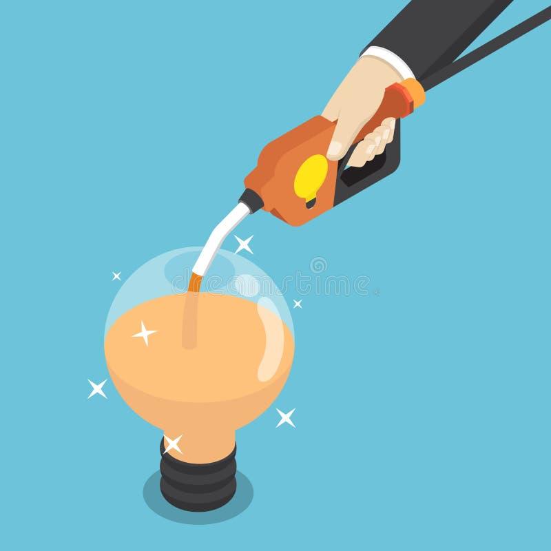 Homem de negócios isométrico que enche a ampola da ideia pelo bocal de combustível ilustração stock